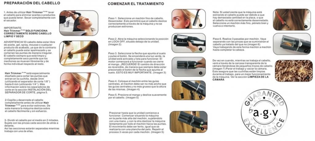 Como usar Cortadora de Puntas Dañadas HAIR TRIMMER by AGV