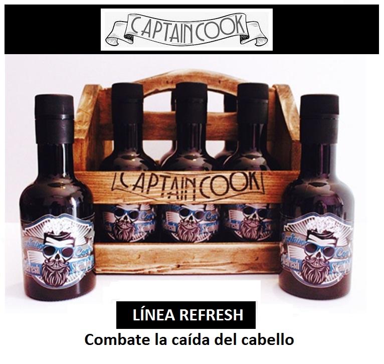 LINEA REFRESH CAPITAN COOK CAPTAIN COOK CHAMPU ANTICAIDA CAIDA DEL CABELLO