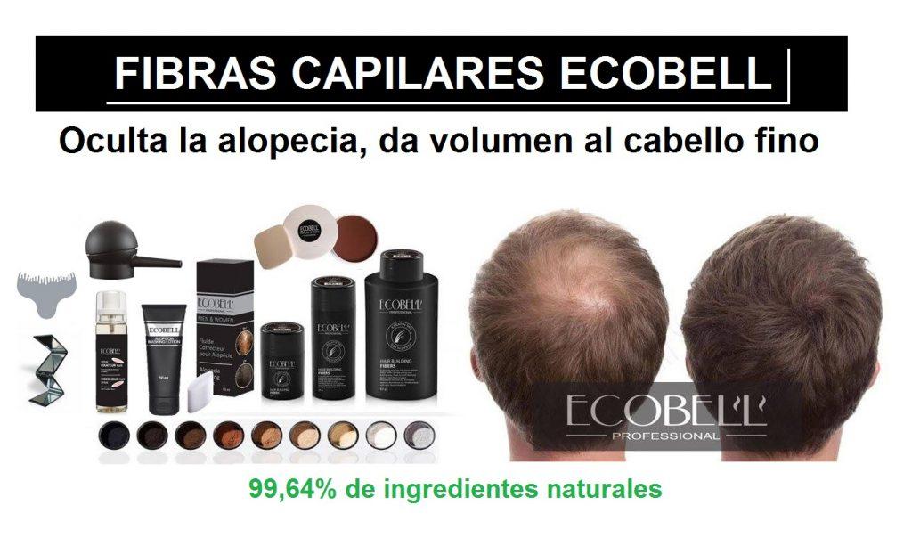 Fibras capilares Ecobell, Maquillaje capilar Ecobell, Masking Lotion, Fijador Ecobell, Aplicador Fibras, Plantilla Entradas, ocultar alopecia, caida cabello, disimular calvicie