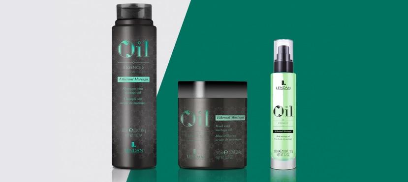 Ethernal Moringa de Lendan Cosmetics, tratamiento rejuvenecedor para el cabello compuesto por champú, mascarilla y aceite capilar serum antiedad.